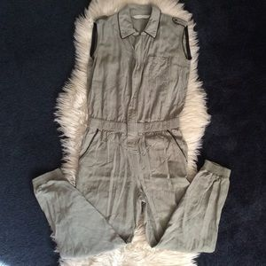 Zara Basic Khaki sleeveless utility jumper szXS